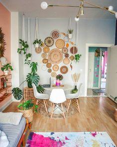 Retro Vintage, Baskets On Wall, Boho, Rattan, Gallery Wall, Dining Room, Room Decor, Tapestry, Instagram