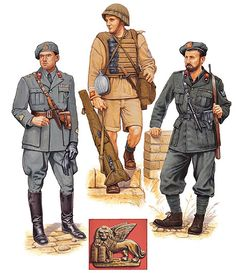 """San Marco Naval Infantry Regiment, 1940-42"" • Capitano di corvetta; Italy, 1940  • Marò guastatore; Libya, 1942  • Vice capo squadra attached from Blackshirt MILMART unit; Italy, 1942"
