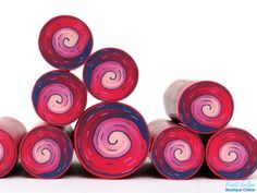 Bordeaux Dark Purple Red & Pinks Polymer clay Spiral by RonitGolan