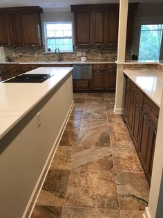 Kitchen Tops, Kitchen Cabinets, Stone Backsplash, Porcelain Tile, Type 3, Tile Floor, Theater, Marble, Flooring