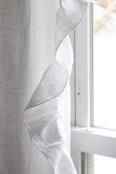 Linen curtain panel with ruffed edge by Lovely Home Idea. White or custom color. Custom length