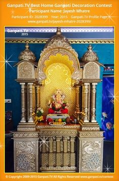 Jayesh Mhatre Page on Ganpati.TV where all Ganpati festival decoration pictures and videos are shared. Ganesh Chaturthi Decoration, Ganesh Chaturthi Images, Festival Decorations, Flower Decorations, Wedding Decorations, Ganesha Painting, Ganesha Art, Decoration Pictures, Decorating With Pictures