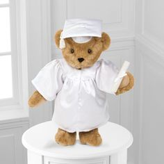 Mercy's Flowers 5500 W Flagler St Coral Gables, FL (305) 264-5053 #sayitwithflowers #bestwish #celebrate #special #floristmiami #florist Vermont Teddy Bear® 15-inch Graduation Bear - White Gown