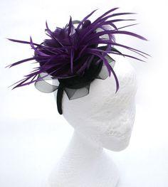 Purple Fascinator: Set onto a black headband.