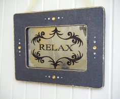 15 Off RELAX Antiqued Mirror and Black and Gold by BusterJustis, $45.00