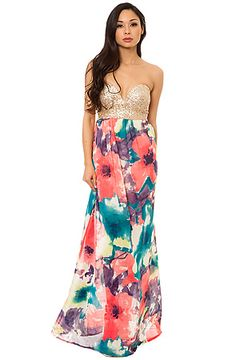 Sequined Bustier Floral Maxi