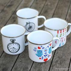 "Mug émail Chouette, ""Keep calm Carry on"" , Vélo vintage ou Horloge by My Sweet Boutique"