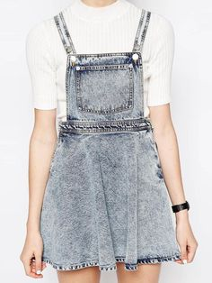 Light Wash Denim A-line Overall Dress