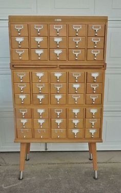 Vintage walnut cabinet School Library Index Card Catalog 15 drawer ...