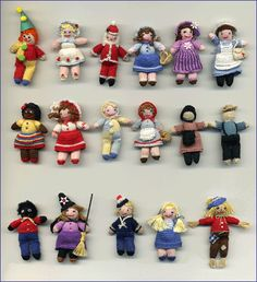 Anja's miniature knitted and crocheted toys for dollhouse dolls.