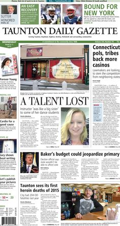 The front page of the Taunton Daily Gazette for Wednesday, March 11, 2015.