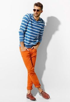 Wanna experiment with a color? Are you tired of boring clothes combinations? Check out these men outfits with orange pants g