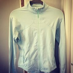 Lululemon running full zip up jacket This jacket has been well loved!  The pictures do not do it justice- it is a mintish green/blue color. Good condition! ☺️ lululemon athletica Tops Sweatshirts & Hoodies