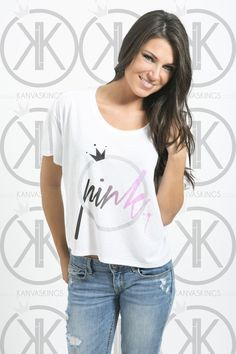 "Our new ""Pinkk Series"" crop top. A subtle black to pink fade with the word ""Pink"" Inside our logo :) Check it out!     www.kanvaskings.com"