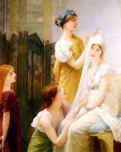 "Jules Joseph Lefebvre:  ""La Fiancée"", oil on canvas, Dimensions: 157.5 × 132 cm (62 × 52 in) Current location: Private collection."