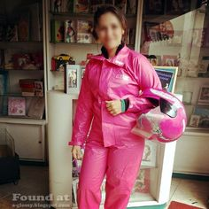 Woman in pink rainsuit
