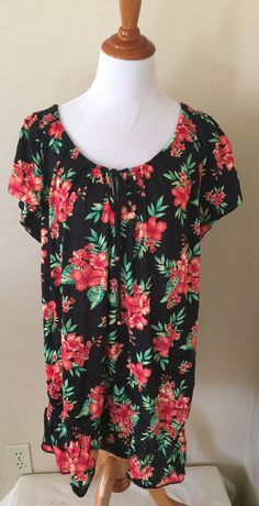 French Laundry Woman Cap Sleeve Drop Waist Floral Print Tunic Top Sz 14/16 #FrenchLaundry #Blouse #Casual