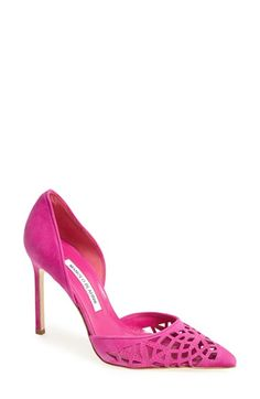 Manolo Blahnik 'Tayler' Suede d'Orsay Pump: A classic d'Orsay pump is updated with saturated fuchsia suede, stunning cutouts with stitched detailing and a slender square heel. A tiny piece of elastic set inside the heel keeps your pump perfectly in place.