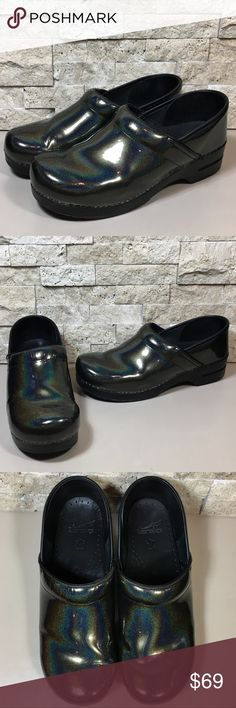 "Dansko Petrol Black Professional Clogs Dansko Petrol Black, patent leather, professional clog comfort work nursing shoes. Great preloved condition, some creasing in the upper, leather trim has a little peeling in spots, little wear at the back heel edge, please see photos. Women's size EU 42 US 11.5-12 * Possibly Wide *, plese see measurements in photos. Heel height 1.75"", Made in Italy.  f1227 Dansko Shoes Mules & Clogs"