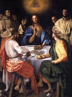 PONTORMO, Jacopo  Supper at Emmaus  1525  Oil on canvas, 230 x 173 cm  Galleria degli Uffizi, Florence.