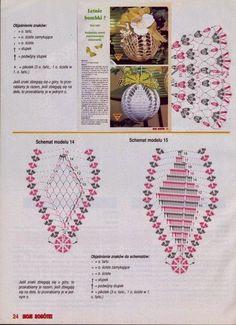 Crochet diagram for Christmas bulb ornaments. wzory na szydełkowe bombki… Crochet Christmas Decorations, Crochet Decoration, Crochet Ornaments, Holiday Crochet, Christmas Knitting, Christmas Crafts, Crochet Snowflake Pattern, Crochet Snowflakes, Crochet Patterns