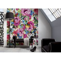A vivid alternative to traditional wallpaper, this modern floral wall mural adds a style pop to any space! Romantic Pop Wall Mural - 4-749 Romantic Pop Photomural Contemporary Home Decor Idea #romantic #art