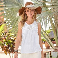 """CHARMAINE TANK--Angelic lace insets with pintucked stripes and crocheted accents elevate this simple tank in slub knit, organic cotton. Machine wash. Imported. Sizes XS (2), S (4 to 6), M (8 to 10), L (12 to 14), XL (16). Approx. 25-1/2""""L."""
