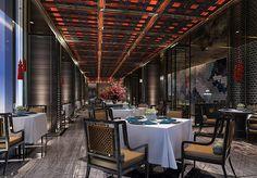 DB Kim Interior Rendering, 3d Rendering, Modern Interior Design, Interior Architecture, Vietnamese Restaurant, Chinese Restaurant, Restaurant Lounge, Ceiling Design, Office Interiors