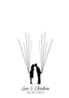 Hochzeitsgästebuch - Wedding Tree Ballons Fingerabdrücke als Gästebuch - ein Designerstück von Anja_87 bei DaWanda