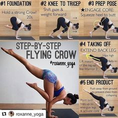 image by @yogaalignment Eka Pada Kakasana -> One-Legged Crow Pose or Flying Crow Pose . . #yogatutorial and #stepbystepguide from @roxanne_yoga . Today's tutorial: Eka Pada Kakasana Flying Crow Pose Here's a step-by-step guide of getting into the pose which for me I find it easier than lifting from crow pose which requires more strength but give it a shot and see which is easier! . . . #yogateachertraining #yogaretreat