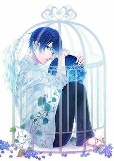 anime, wings, and anime boy image