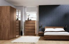 White and Dark Blue Wall Color Scheme with Wooden Furnishings in Classic Master Bedroom Design Ideas