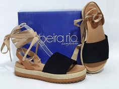 flatform Beira Rio conforto amarrar preto 8354806 Girls Shoes, Shoe Boots, Espadrilles, Footwear, Wedges, Sandals, Sneakers, Women, Summer Shoes