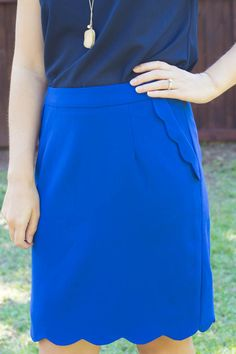Stitch Fix October 2014 Review - Brixon Ivy Heidi Scallop Hem Pencil Skirt. Love the color and  detail of this skirt!