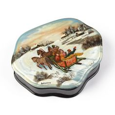 """""""Russian Troika Lacquer Jewelry Box Item No. LB00330A01 $167.99 For a unique jewelry box, hand-painted lacquer boxes are wonderful. This collectible Fedoskino-made box features a unique shape and a painting of Russians having a great time in the Winter season with their three-horse-drawn carriage sleigh. This is a one of a kind. Signed """"Fedoskino"""" and """"Lavrov"""" (place and artist). About 5 1/2"""" long and 4 1/2"""" wide in size."""" Russian Landscape, Russian Jewelry, Russian Winter, Jewelry Box, Unique Jewelry, Horse Drawn, Winter Season, Hand Painted, Seasons"""