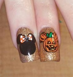 Mickey and Minnie halloween nails
