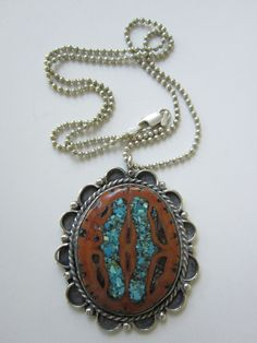 """$89.99 Vintage Huge Sterling Silver Turquoise Inlay Walnut Shell Pendant-Necklace-Navajo Indian Crafted-18""""Sterling Chain by JEANIESPLACE on Etsy"""