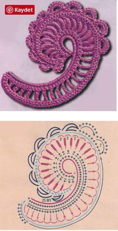 Crochet Paisley, Irish Crochet Patterns, Freeform Crochet, Crochet Art, Crochet Diagram, Crochet Flower Tutorial, Crochet Flowers, Crochet Accessories, Irish Lace