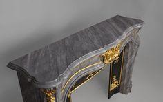 Comtesse de Vintimille - Superb custom made marble fireplace of Louis XV style with gilded bronze ornaments. Antique Mantel, Marble Fireplaces, Louis Xvi, Bronze Sculpture, Sculptures, Shades, Decor Ideas, Ornaments, Antiques