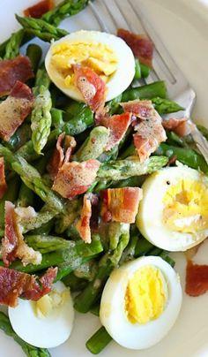 Asparagus Egg and Bacon Salad w dijon mustard vinaigrette