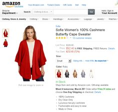 Sofie Women's 100% Cashmere Butterfly Cape Sweater