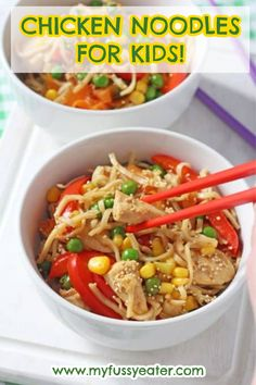 This easy chicken noodle recipe for kids is really quick and easy to make and can be on the table in just 15 minutes! #noodlesforkids #foodforkids #noodlerecipes #chickennoodles Easy Family Meals, Healthy Meals For Kids, Quick Easy Meals, Kids Meals, Healthy Recipes, Toddler Meals, Lunch Meals, Quick Snacks, Lunches