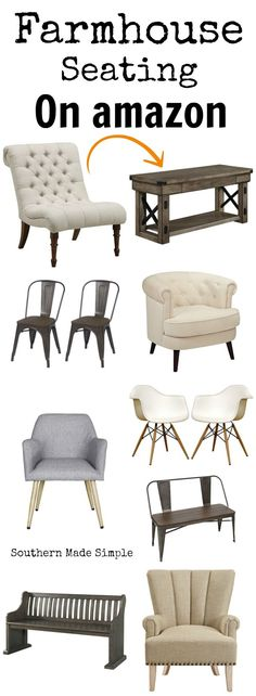 Gorgeous farmhouse style seating for the home, and it's all available on Amazon! Hello, 2 day shipping! #fixerupper