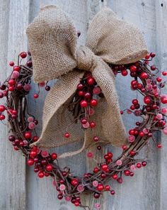 Rustic Burlap & Red Berries Heart