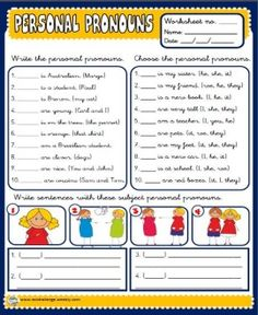 SUBJECT PERSONAL PRONOUNS http://eslchallenge.weebly.com/packs.html
