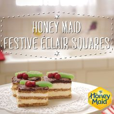 How can you make an éclair even better? Two words: Graham Crackers. Try our delicious, creamy and simple holiday recipe for Honey Maid éclair squares. Cookie Desserts, No Bake Desserts, Just Desserts, Delicious Desserts, Dessert Recipes, Yummy Food, Honey Recipes, Baking Recipes, Yummy Treats