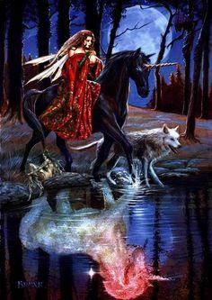 """""""The Journey"""" dark unicorn blank card"""