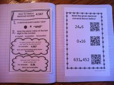 Place value interactive notebook.  How to read a decimal number.