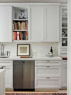 Best and Company NYC - kitchens - pre-war buildings, galley kitchens, kitchen cabinets, white shaker cabinets, white shaker kitchen cabinets. Kitchen New York, Kitchen Dining, Kitchen Decor, Kitchen Art, Kitchen Ideas, Kitchen Bookshelf, Kitchen Island, Plywood Kitchen, Floors Kitchen