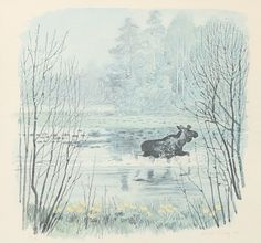 ✨ HARALD WIBERG - Älg i vatten, 1976, färglitografi, signerad, numrerad 150/180, 34 x 37 cm ::: Moose in Waters, Colour Printing/Lithography
